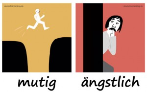 mutig - ängstlich - Adjektive - Gegensatzpaare