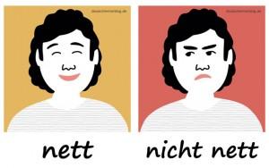 nett - nicht nett - Adjektive - Gegensatzpaare