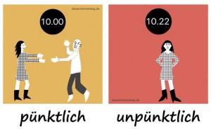 pünktlich - unpünktlich - Adjektive - Gegensatzpaare