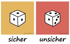 sicher - unsicher - Adjektive - Gegensatzpaare