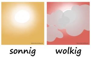 sonnig - wolkig - Adjektive - Gegensatzpaare