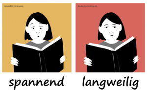 spannend-langweilig-Adjektive-Bilder-Gegensatzpaare-deutschlernerblog