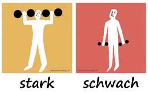 stark - schwach  - Adjektive - Gegensatzpaare
