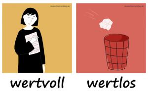 wertvoll-wertlos-Adjektive-Bilder-Gegensatzpaare-deutschlernerblog