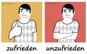 zufrieden - unzufrieden - Adjektive - Gegensatzpaare