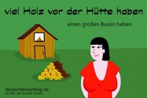Holz vor Hütte - Redewendungen Bilder