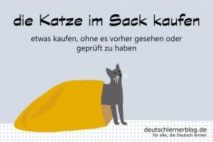 Katze im Sack kaufen - Redewendungen Bilder