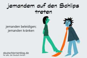 auf-den-Schlips-treten-getreten-Redewendungen-Redensarten-Umgangssprache-deutschlernerblog