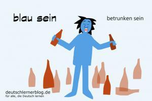 blau-sein-betrunken-sein-Redewendungen-Redensarten-Umgangssprache-deutschlernerblog