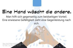 eine-Hand-wäscht-die-andere-Redewendungen-deutschlernerblog