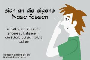 sich-an-die-eigene-Nase-fassen-Redensarten-Redewendung-deutschlernerblog