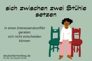 sich zwischen zwei Stühle setzen Redewendungen Bilder deutschlernerblog