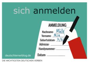 anmelden-deutsche-Verben-mit-Bildern-Deutsch-lernen-mit-Deutschlernerblog