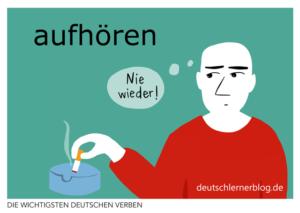 aufhören-deutsche-Verben-mit-Bildern-Deutsch-lernen-mit-Deutschlernerblog