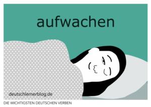 aufwachen-deutsche-Verben-mit-Bildern-Deutsch-lernen-mit-Deutschlernerblog
