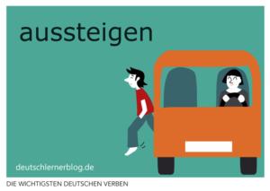 aussteigen-deutsche-Verben-mit-Bildern-Deutsch-lernen-mit-Deutschlernerblog
