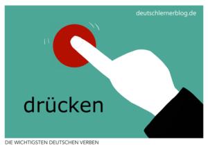 drücken-deutsche-Verben-mit-Bildern-Deutsch-lernen-mit-Deutschlernerblog