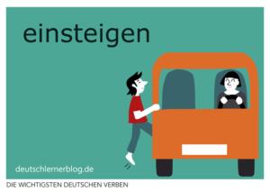 einsteigen-deutsche-Verben-mit-Bildern-Deutsch-lernen-mit-Deutschlernerblog