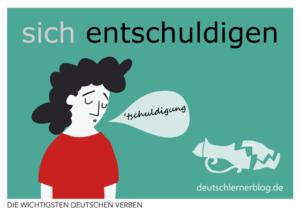 entschuldigen-deutsche-Verben-mit-Bildern-Deutsch-lernen-mit-Deutschlernerblog